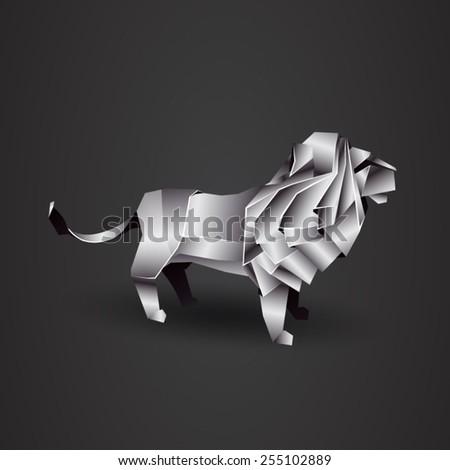 Chrome Origami Lion Stock Vector 255102889