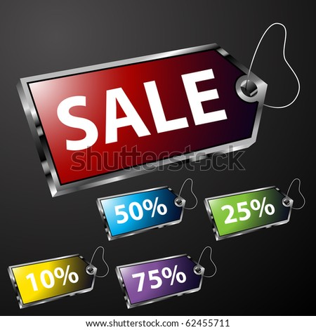 Chrome Price Tags - stock vector