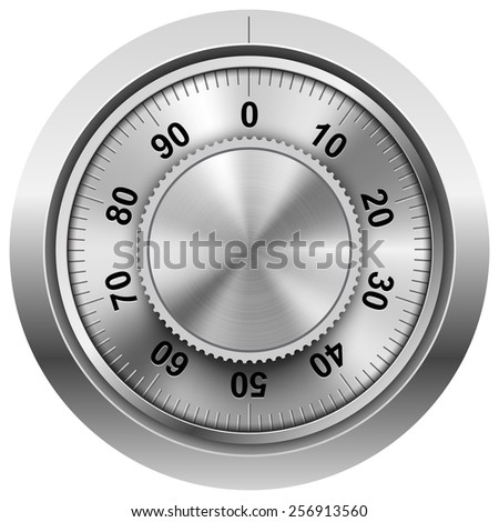 Chrome safe combination lock wheel vector template. - stock vector