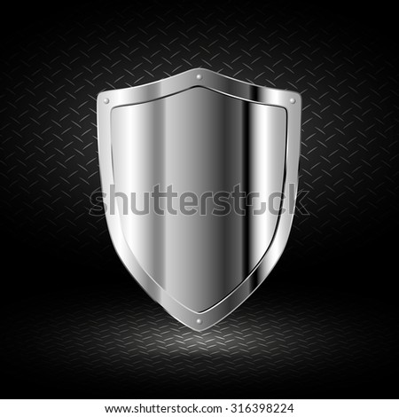 Chrome shield on a dark background - stock vector