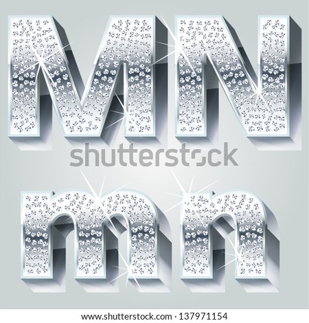 Chrome symbols inlaid of diamond crumbs. Letters M N - stock vector