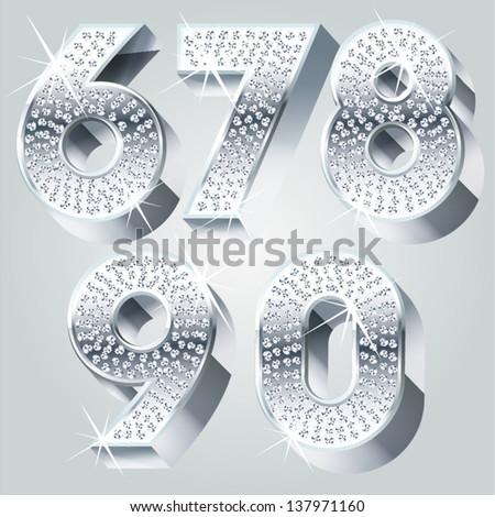 Chrome symbols inlaid of diamond crumbs. Numbers 6-0 - stock vector