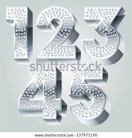 Chrome symbols inlaid of diamond crumbs. Numbers 1-5 - stock vector