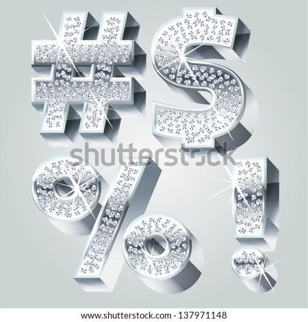 Chrome symbols inlaid of diamond crumbs. Symbols 2 - stock vector