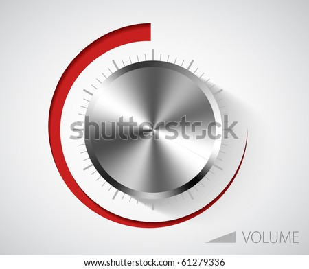 Chrome volume knob with scale on white background - stock vector