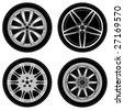 chrome wheel vector - stock vector