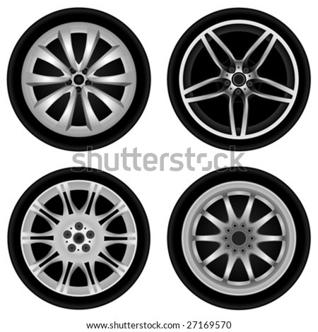 chrome wheel vector - stock vector