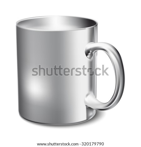 Chromium-plated mug realistic 3D mockup on a white background vector illustration