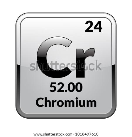 Chromium Symbol Chemical Element Periodic Table On Stock Vector