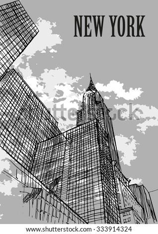 Chrysler Building, New York city skylines, USA. Ink sketch, hand drawn, mixed media. - stock vector