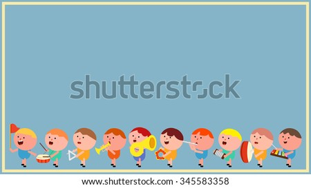 Chubby cute little boy kids cartoon character marching band. Playing musical instrument, making noise rhythm. Conductor, bass drum, trombone, tuba, french horn, flute, tambourine, xylophone, accordion - stock vector