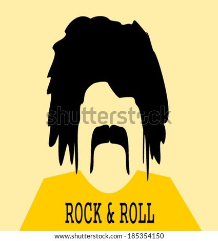 chubby man with long hair and bushy mustache wearing rock and roll shirt - stock vector