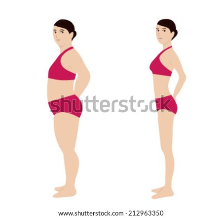chubby woman, skinny woman in vector - stock vector