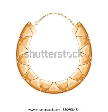 Chunky chain golden metallic necklace or bracelet. Personal fashion accessory design. - stock vector