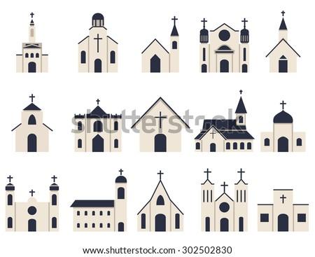church building icon vector set - stock vector