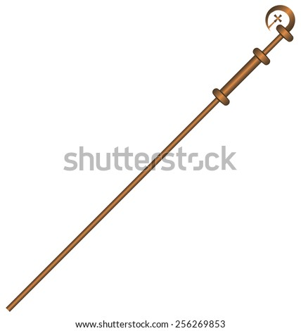 Church Crozier, a Catholic priest. Vector illustration.
