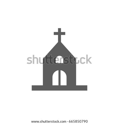 Church icon in trendy flat style isolated on white background. Symbol for your web site design, logo, app, UI. Vector illustration, EPS