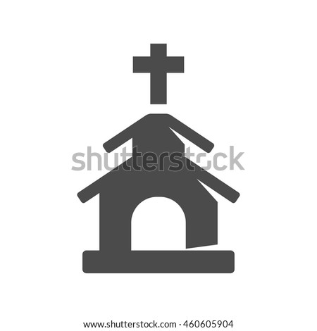 Church icons in single color. Christian chapel synagogue - stock vector