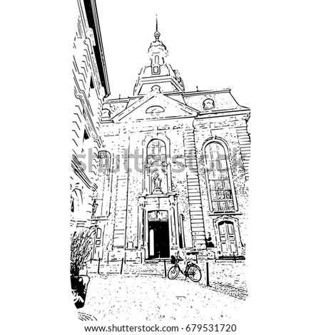 Church in downtown of Duesseldorf, Germany - vector image