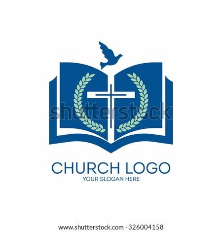 Church logo. Bible, cross, dove Holy spirit.  - stock vector