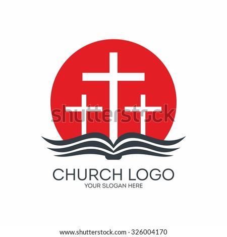 Church logo. Bible, sun, cross.  - stock vector
