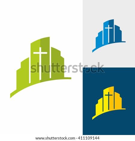 Church logo. Christian symbols. City and Jesus cross. - stock vector