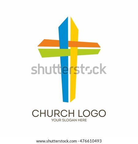 Church Logo Christian Symbols Coloring Jesus Stock Vector 476610493 ...