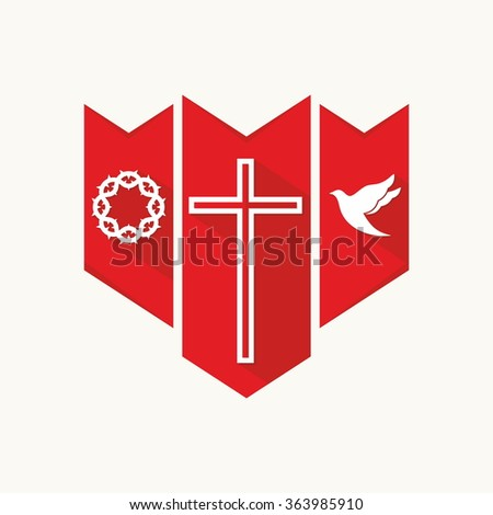 Church logo. Christian symbols. Cross, dove and crown of thorns. - stock vector
