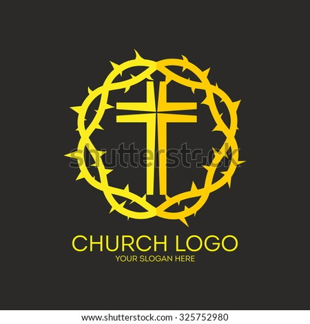 Church logo. Cross and Crown of thorns. - stock vector