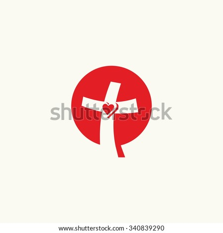 Church logo. Cross and heart - stock vector