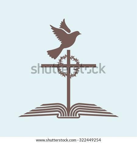 Church logo. Cross, dove, open bible, crown of thorns - stock vector