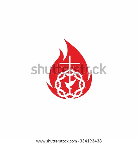 Church logo. Crown of thorns, flame and cross - stock vector