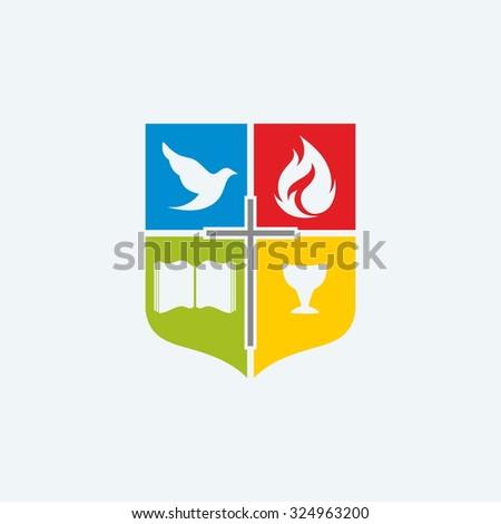 Church logo. Dove, cross, open bible, flame, Holy spirit - stock vector