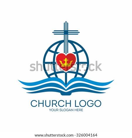 Church logo. Globe, crown, cross, bible and heart  - stock vector