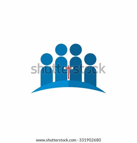 Church logo. Group of people, united in Christ - stock vector