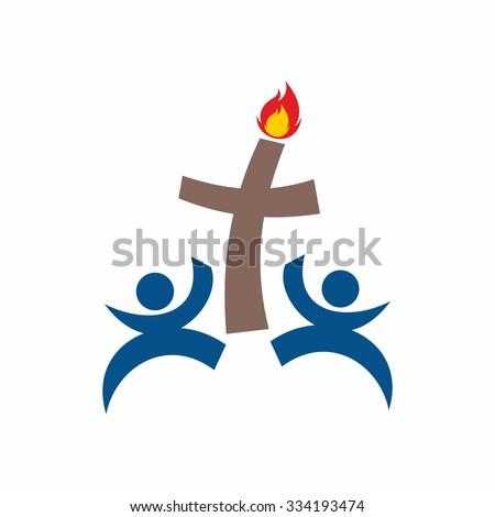 Church logo. Group worshipers - stock vector