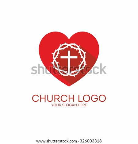 Church logo. Heart, crown of thorns and cross - stock vector