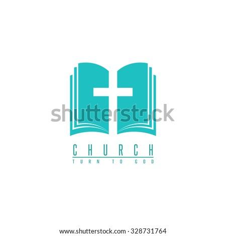 Church logo mockup, cross and abstract bible religion book symbol, design element for faith icon  - stock vector