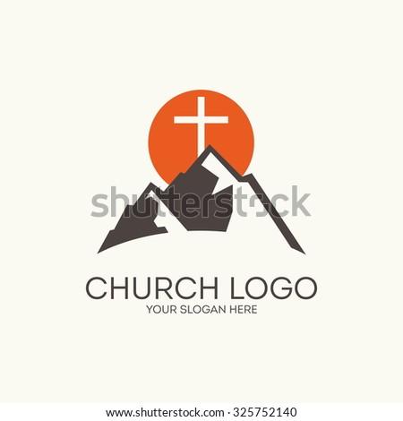 Church logo. Mountain, sun, cross. - stock vector