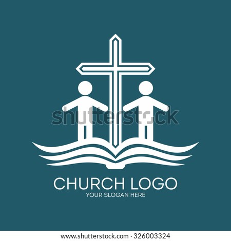 Church logo. People, cross and open bible. - stock vector