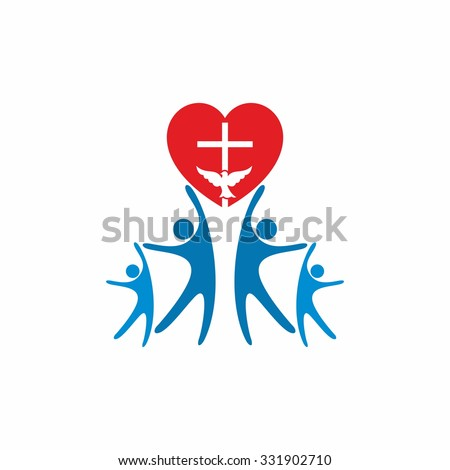 Church logo. People worship God in love - stock vector