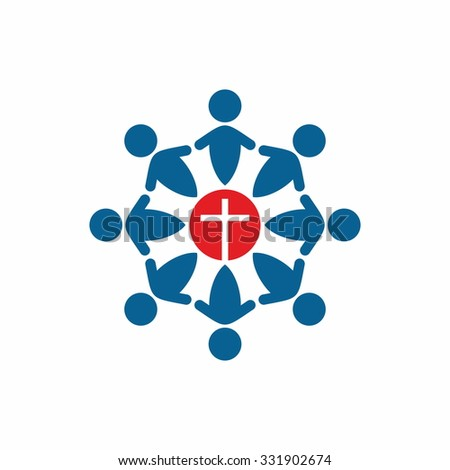Church logo. United in Christ, group of people - stock vector