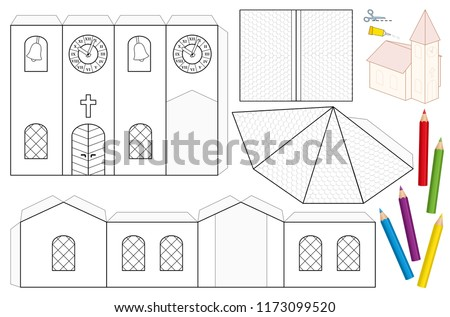 Church Paper Craft Sheet Unpainted Cut Out Template For Children Coloring And Making