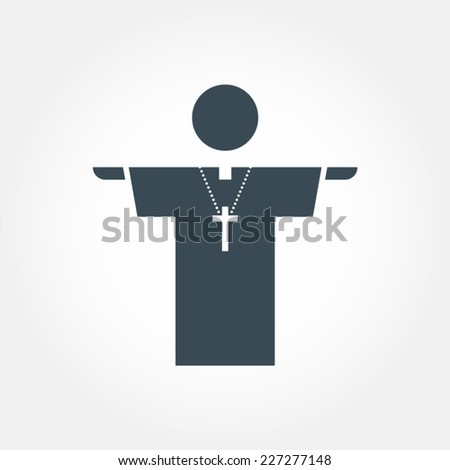 church prayer priest pastor pictogram vector icon  - stock vector