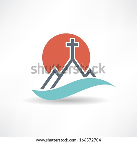church sun abstract icon - stock vector