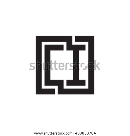 CI initial letters looping linked square monogram logo