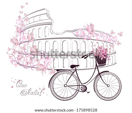 Ciao Italia text with Colosseum and bicycle. Romantic postcard from Rome, Italy. Vector illustration. - stock vector