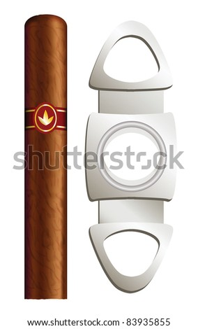Cigar and guillotine. Vector illustration on white background. - stock vector