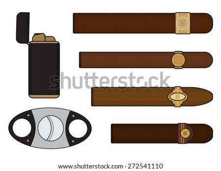 Cigar smoker set with lighter and guillotine. Vector clip art illustrations isolated on white - stock vector