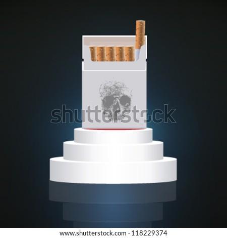 cigarette box pedestal design. vector illustration - stock vector